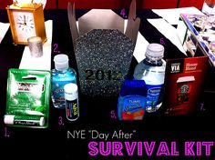 New Year's Day survival kit. Hand it out at your party so your guests have what they need to recoup from the night before. So cute!