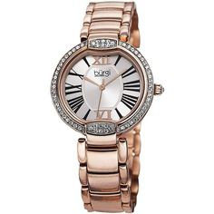Burgi Crystal Rose-tone Stainless Steel Bracelet Watch $80
