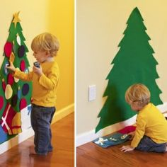 Felt Christmas tree that your toddler can decorate over and over and leave the real one alone! - felt Christmas tree by Sol and Rachel Noel Christmas, Winter Christmas, All Things Christmas, Christmas Gifts, Christmas Decorations, Toddler Christmas, Child Christmas Crafts, Christmas Countdown, Holiday Decorating