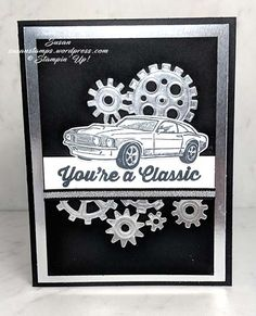 Here is a fun, bright and shiny birthday card using the stamp set called Geared Up Garage. This stamp set is in the 2019 Stampin' Up! It has a matching set of dies calle… Happy Birthday Cards Handmade, Masculine Birthday Cards, Masculine Cards, Classic Trucks, Classic Cars, Chevy Classic, Spellbinders Cards, Making Greeting Cards, Scrapbooking