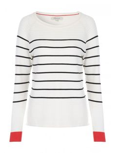 Looking for an update to your typical knitwear? This stripe jumper is the perfect product. Featuring black and white stripes with long sleeves and a red cuf...