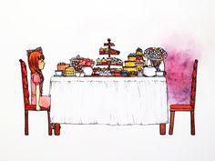 Tea Party  Watercolor and Pen