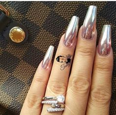 Pink Metallic mirror nails