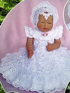 BABY CROCHET PATTERN~Heirloom Irish Lace Christening Gown~Bonnet~Booties~Doll 15