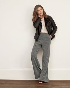 Dress up with ease in supersoft herringbone pants, wide fitting through the legs for maximum comfort, featuring decorative button details at front pockets, Imported<br><br>Inseam (Inches): 32.12