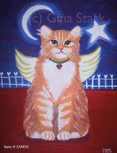 Orange Kitty angel with Heart Star and Moon by starlustudio2, $3.00