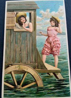 Divided Back Postcard Bathing Beauties Swimsuits & Pinup Vintage Artwork, Vintage Prints, Vintage Pictures, Vintage Images, Images Victoriennes, Bathing Costumes, Bathing Beauties, Beach Scenes, Illustrations