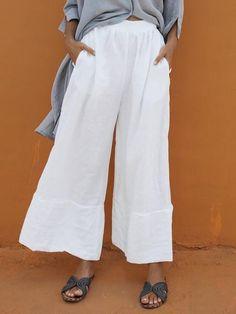 Women Plus Size Solid Casual Wide Leg Linen Pants – fashiontia Overall Jumpsuit, Denim Overall, Wide Leg Linen Pants, Loose Pants, Plus Size Casual, Cotton Pants, Cotton Linen, Linen Tunic, Elastic Waist