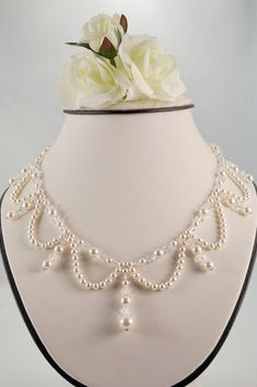 Swarovski White Pearl and Crystal Ballroom Necklace, Victorian, Ballroom, Bridal, Elegant. Wedding Jewelry Sets, Bridal Jewelry, Beaded Jewelry, Handmade Jewelry, Beaded Bracelets, Diy Necklace, Necklace Designs, Necklaces, Necklace Ideas