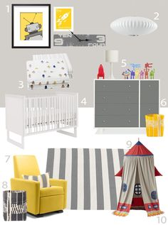 A yellow Grano Glider Recliner adds a pop of color to this robot themed nursery. My Modern Nursery Robot March from Little Auggie Outer Space Nursery, Space Themed Nursery, Nursery Themes, Room Themes, Robot Bedroom, Robot Nursery, Modern Nursery Furniture, Loft Playroom, Baby Boy Rooms