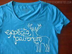 Freezer paper tee shirt stenciling. Harry Potter geekery meets crafty nerdiness. Yesssss.