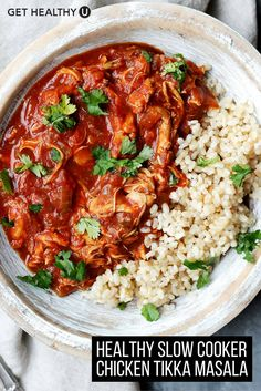 This recipe for Slow Cooker Chicken Tikka Masala is a light, Indian comfort-dish! Serve with rice or naan for a full meal your whole family will love!