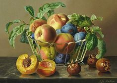 Anton Hartinger Still Life with Fruit on a Marble Ledge 1875