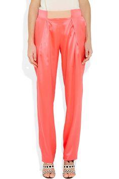 Les Chiffoniers|Pleated silk-satin pants