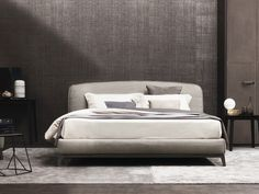Double bed with upholstered headboard OLIVIER | Fabric bed - Flou