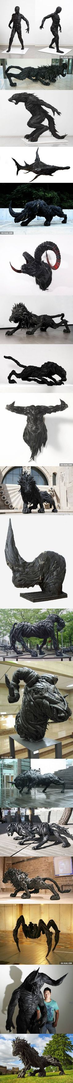Sculptures made from recycled old tires: