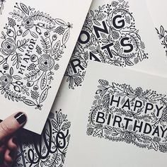 A peek at original paintings (done by Totten Totten Bond) for new Rifle Paper and Co greeting cards debuting this spring. Each one will be a letterpress printed in different colors. Typography Letters, Typography Design, Pen & Paper, Rifle Paper Co, Illustration, Letterpress Printing, Zentangle, Envelopes, Birthday Cards