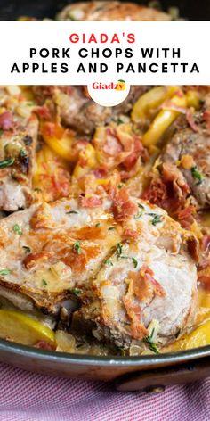 Giada Recipes, Pork Recipes, Gourmet Recipes, Cooking Recipes, I Love Food, Good Food, Recipe Using Apples, Cauliflower Soup Recipes, Apple Pork Chops