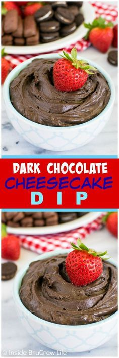 Dark Chocolate Cheesecake Dip - this easy and creamy no bake dip is great for scooping up with fruit, cookies, or pretzels. (chocolate and cheese sweet treats) Cheesecake Dip, Chocolate Cheesecake, Chocolate Desserts, Cheesecake Recipes, Chocolate Art, Chocolate Dipped, Chocolate Chips, Dessert Dips, Easy Desserts