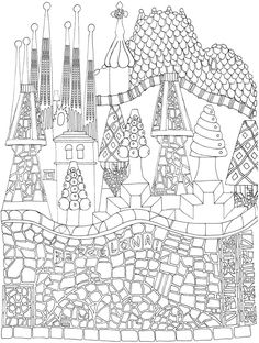 Creative Haven CityScapes: A Coloring Book with a Hidden Picture Twist By: Alexandra Cowell - Dover Publications PAGE 2 Pattern Coloring Pages, Coloring Pages To Print, Coloring For Kids, Coloring Pages For Kids, Coloring Books, Coloring Sheets, Gaudi Mosaic, Antonio Gaudi, 3rd Grade Art