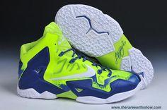 Cheap Sapphire Fluorescent Green Custom Nike LeBron 11