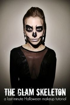 If you've already got a glamorous all-black wardrobe, become a glam skeleton with just a little face paint. | 51 Cheap And Easy Last-Minute Halloween Costumes