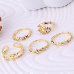 Women Heart Shape Leaf Pattern Zircon Ring 5pcs Rings Set Jewelry Fantastic #bodhi1999szus