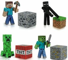 Set-Of-4-Minecraft-Steve-Enderman-Creeper-Zombie-3-Figure-Toy-Official-Product