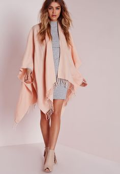 Missguided - Fringe Blanket Wrap Pink