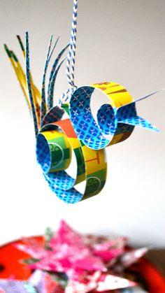 DIY paper bird ornament