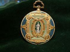 Reloj bolsillo oro esmalte