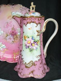 Ah yes, the vintage chocolate pot. Chocolate Pots, Chocolate Coffee, Pink Chocolate, Antique China, Vintage China, Vintage Teapots, Tea Cup Saucer, Tea Cups, Teapots And Cups