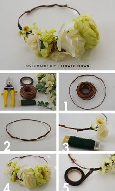 Ideas For Flowers Diy Crown Flower Crown Tutorial, Diy Flower Crown, Diy Crown, Floral Crown, Diy Flowers, Flower Crowns, Flower Girls, Crown Art, Flower Headbands