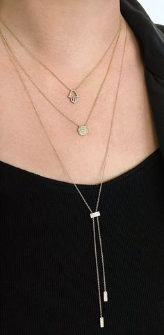 My kind of layering game! Dainty diamond necklaces