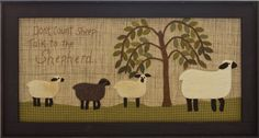 Primitive Wool Applique Stitchery Pattern sheep talk to the shepherd by FiddlestixDesign Motifs Applique Laine, Wool Applique Quilts, Applique Quilt Patterns, Wool Quilts, Wool Embroidery, Felt Patterns, Colchas Quilt, Farm Quilt, Sheep Crafts