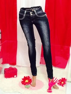 Size 3 BLING CRYSTALS C'est Toi Size Whiskered Stretch Denim Skinny  Jeans  #CestToi #SlimSkinny