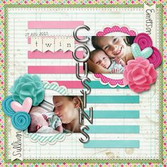 Twin Cousins digital scrapbook layout page by Chanell Rigterink