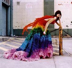 Alexander McQueen Rainbow shipwreck dress from Spring 2003