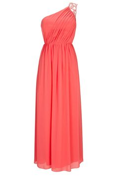 Stylish Outfits!: CORAL ONE SHOULDER MAXI DRESS