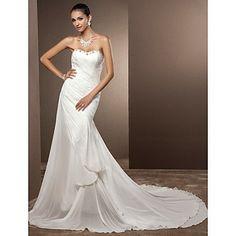 Sheath/Column Sweetheart Chapel Train Chiffon Wedding Dress – USD $ 199.99