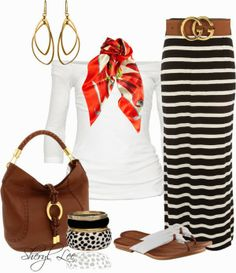 Get Inspired by Fashion: Casual Outfits | Striped Maxi