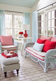 robin's egg blue with cherry red and lots of white, white walls, ice blue ceiling, House of Turquoise: Lindsey Hene Interiors