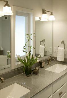 Contemporary Bathroom with nickel plated handtowel