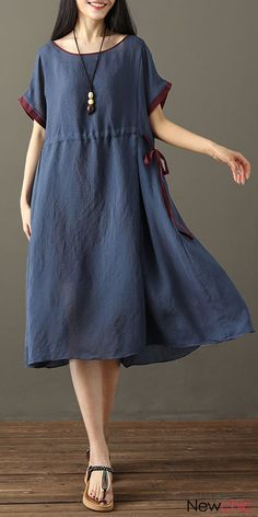 Vintage Two Pieces Drawstring Short Sleeve Dresses For Women. Gracila brand from NEWCHIC. US size 8 to Vintage Two Pieces Drawstring Short Sleeve Dresses For Women. Gracila brand from NEWCHIC. US size 8 to Linen Dresses, Cotton Dresses, Women's Dresses, Vintage Dresses, Dress Outfits, Fashion Dresses, Short Sleeve Dresses, Summer Dresses, Loose Dresses