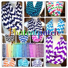 Chevron Infinity Scarves Choose Your Color Wide by Phatcatpatch, $13.49