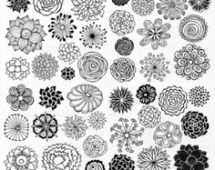 Hand drawn Doodle Dandelions Clipart Flower Silhouettes