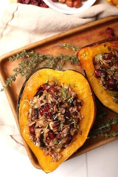 Welcome in fall with this Wild Rice Stuffed Acorn Squash. Perfectly baked squash filled with wild rice, dried cranberries, toasted hazelnuts, and Maitake mushrooms for the perfect gluten-free meal. #mydarlingvegan #veganacornsquash #squash #wildrice #glutenfree Vegan Dinner Recipes, Delicious Vegan Recipes, Vegan Dinners, Fall Recipes, Vegetarian Recipes, Cooking Recipes, Vegetable Recipes, Yummy Food, Buttercup Squash