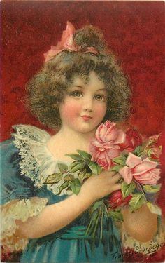 girl in blue dress with pink roses in her hands