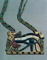 Egyptian Museum The eye of Horus (Wedjat-eye) symbolized health. Gold pectoral inlaid with lapis lazuli, glass papyrus column pendants, glazed composition studs and earring. Eighteenth Dynasty, New Kingdom