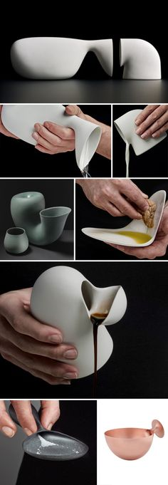 Aldo Bakker porcelain tableware, industrial design - this freaks me out a bit but is still very cool